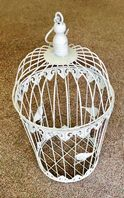 White Shabby Chic Vintage Styled Bird Cage Decor